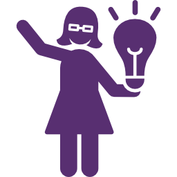 An icon of a woman with a lightbulb above her head representing YWAG and their ideas