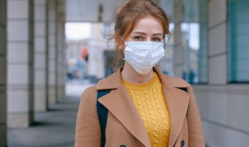 A woman wearing a face mask