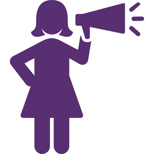Icon of a woman with a megaphone